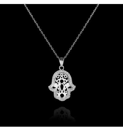Colier din argint Hamsa - Mana lui Fatima