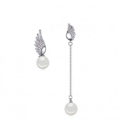 """Cercei cu cristale zirconiu si perle """"Angel Wings"""""""