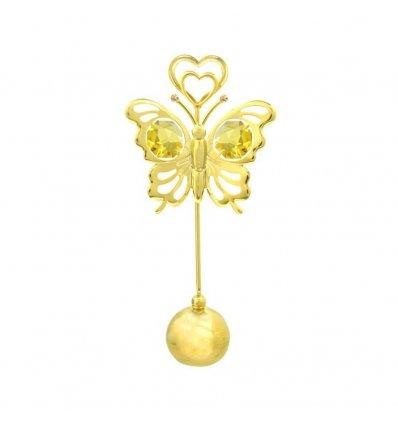 Suport pentru carti de vizita in forma de fluturas cu cristale Swarovski