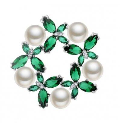 """Brosa cu cristale Swarovski si perle """"Queen Charm"""""""