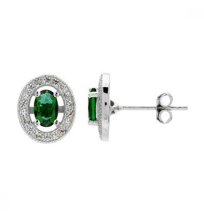 """Cercei din argint 925 cu cristale """"Emerald Sky"""""""