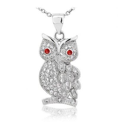 """Colier din argint 925 """"Wise Diamond Owl"""""""