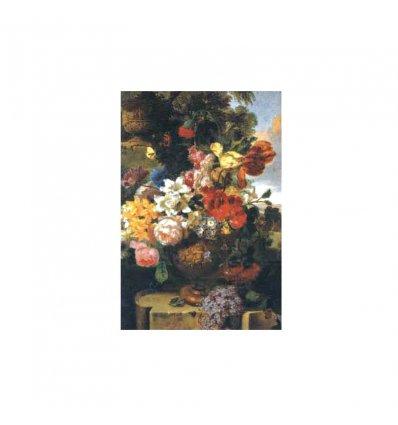 Vaza cu flori pe masa in natura - tablou pe sevalet