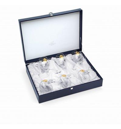 "Set de 6 pahare pentru vin ""Arabesque Gold"" by Chinelli Italy"