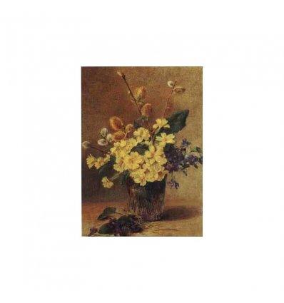 Vaza cu flori si muguri - tablou pe sevalet