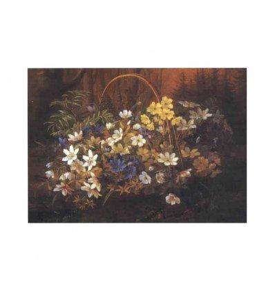 Cos cu flori - tablou pe sevalet din lemn