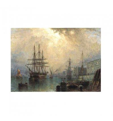 Vapoare in port - tablou pe sevalet